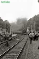 Dampfsonderfahrten/80086/38-1182-mit-sonderzug-im-bhf 38 1182 mit Sonderzug im Bhf Barthmühle (Fotohalt), 1984